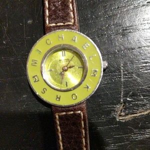 Michael Kors Green Face Brown Leather band Watch